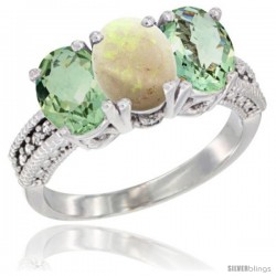 14K White Gold Natural Opal & Green Amethyst Sides Ring 3-Stone 7x5 mm Oval Diamond Accent