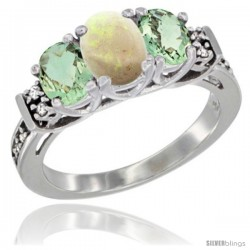 14K White Gold Natural Opal & Green Amethyst Ring 3-Stone Oval with Diamond Accent