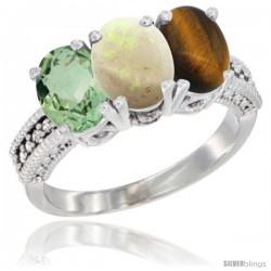 14K White Gold Natural Green Amethyst, Opal & Tiger Eye Ring 3-Stone 7x5 mm Oval Diamond Accent