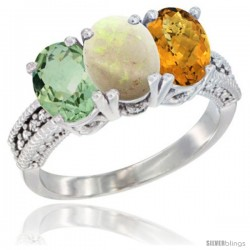 14K White Gold Natural Green Amethyst, Opal & Whisky Quartz Ring 3-Stone 7x5 mm Oval Diamond Accent