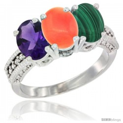 14K White Gold Natural Amethyst, Coral & Malachite Ring 3-Stone 7x5 mm Oval Diamond Accent