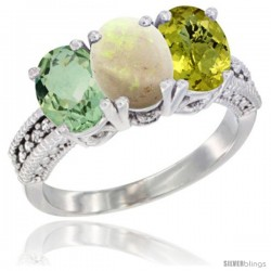 14K White Gold Natural Green Amethyst, Opal & Lemon Quartz Ring 3-Stone 7x5 mm Oval Diamond Accent