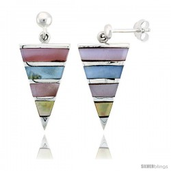 "Sterling Silver Triangular Pink, Blue, Light Yellow & White Mother of Pearl Inlay Earrings, 7/8"" (22 mm) tall"