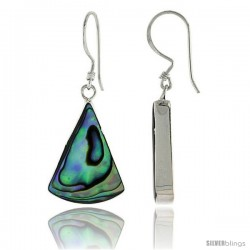 "Sterling Silver Triangular Abalone Shell Inlay Earrings, 7/8"" (22 mm) tall"