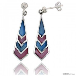 "Sterling Silver Freeform Pink & Blue Mother of Pearl Inlay Earrings, 1 1/4"" (32 mm) tall"