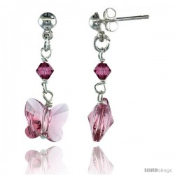 Sterling Silver Butterfly Pink Sapphire Swarovski Crystals Dangle Earrings, 1 1/8 in. (29 mm) tall