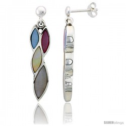 Sterling Silver Marquise-shaped Pink, Blue, Light Yellow & White Mother of Pearl Inlay Earrings, 1 3/16 (30 mm) tall