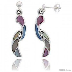 "Sterling Silver Freeform Pink, Blue, Light Yellow & White Mother of Pearl Inlay Earrings, 1 1/8"" (28 mm) tall"