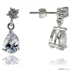 Sterling Silver / Cubic Zirconia Dangle Earrings -Style Est5p68
