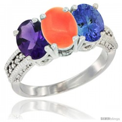 14K White Gold Natural Amethyst, Coral & Tanzanite Ring 3-Stone 7x5 mm Oval Diamond Accent