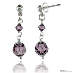 Sterling Silver Amethyst Swarovski Crystals Drop Earrings, 1 1/4 in. (32 mm) tall