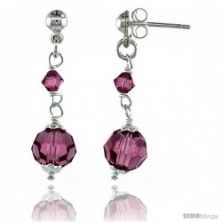 Sterling Silver Pink Sapphire Swarovski Crystals Drop Earrings, 1 1/4 in. (32 mm) tall