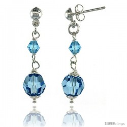 Sterling Silver Blue Topaz Swarovski Crystals Drop Earrings, 1 1/4 in. (32 mm) tall