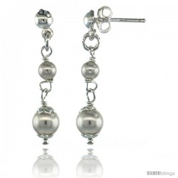 Sterling Silver Swarovski Pearl Drop Earrings, 1 1/4 in. (32 mm) tall
