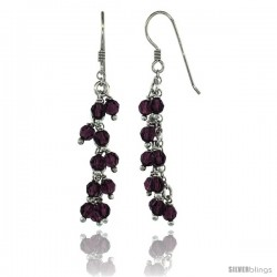 Sterling Silver Amethyst Swarovski Crystals Cluster Drop Earrings, 2 3/16 in. (56 mm) tall