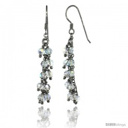 Sterling Silver Clear Swarovski Crystals Cluster Drop Earrings, 2 3/16 in. (56 mm) tall