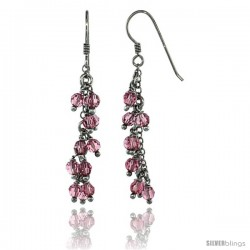Sterling Silver Pink Sapphire Swarovski Crystals Cluster Drop Earrings, 2 3/16 in. (56 mm) tall