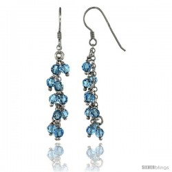 Sterling Silver Blue Topaz Swarovski Crystals Cluster Drop Earrings, 2 3/16 in. (56 mm) tall