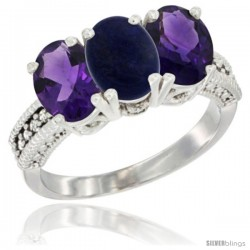 14K White Gold Natural Lapis & Amethyst Ring 3-Stone 7x5 mm Oval Diamond Accent