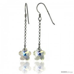 Sterling Silver Flower Clear Swarovski Crystals Drop Earrings, 2 1/16 in. (52 mm) tall