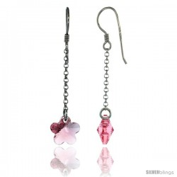 Sterling Silver Flower Pink Sapphire Swarovski Crystals Drop Earrings, 2 1/16 in. (52 mm) tall
