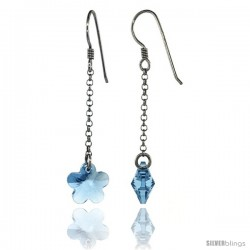 Sterling Silver Flower Blue Topaz Swarovski Crystals Drop Earrings, 2 1/16 in. (52 mm) tall
