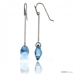 Sterling Silver Fish Blue Topaz Swarovski Crystals Drop Earrings, 2 5/8 in. (67 mm) tall