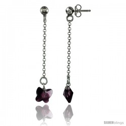 Sterling Silver Butterfly Amethyst Swarovski Crystal Drop Earrings, 1 13/16 in. (46 mm) tall