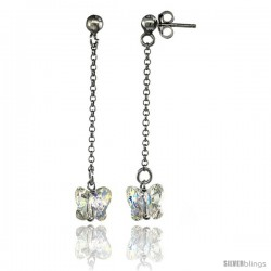 Sterling Silver Butterfly Clear Swarovski Crystal Drop Earrings, 1 13/16 in. (46 mm) tall