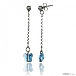 Sterling Silver Butterfly Blue Topaz Swarovski Crystal Drop Earrings, 1 13/16 in. (46 mm) tall