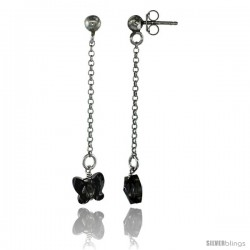 Sterling Silver Butterfly Smoky Topaz Swarovski Crystal Drop Earrings, 1 13/16 in. (46 mm) tall