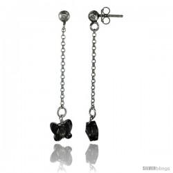 Sterling Silver Butterfly Smoky Topaz Swarovski Crystal Drop Earrings, 1 13/16 in. (46 mm) tall