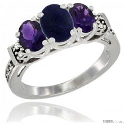 14K White Gold Natural Lapis & Amethyst Ring 3-Stone Oval with Diamond Accent