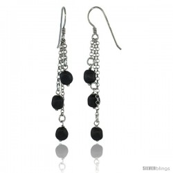Sterling Silver Black Swarovski Pearl Drop Earrings, 2 9/16 in. (65 mm) tall
