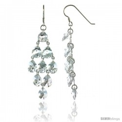 Sterling Silver Teardrop Clear Swarovski Crystals Chandelier Earrings, 2 7/8 in. (73 mm) tall