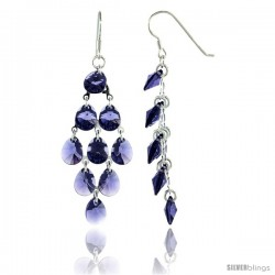Sterling Silver Teardrop Tanzanite Swarovski Crystals Chandelier Earrings, 2 7/8 in. (73 mm) tall