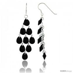 Sterling Silver Teardrop Black Swarovski Crystals Chandelier Earrings, 2 7/8 in. (73 mm) tall