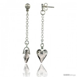 Sterling Silver Heart Clear Swarovski Crystal Drop Earrings, 2 1/8 in. (54 mm) tall
