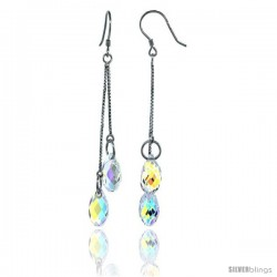 Sterling Silver Dangle Earrings w/ Yellow Briolette Swarovski Crystal 2 1/4 in. (58 mm) tall, Rhodium Finish