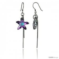 Sterling Silver Dangle Earrings w/ Purple Swarovski Crystal Starfish 2 1/4 in. (58 mm) tall, Rhodium Finish
