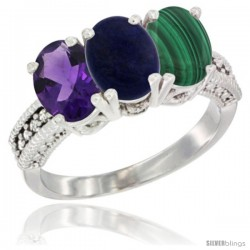 14K White Gold Natural Amethyst, Lapis & Malachite Ring 3-Stone 7x5 mm Oval Diamond Accent