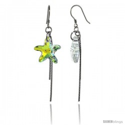 Sterling Silver Dangle Earrings w/ Yellow Swarovski Crystal Starfish 2 1/4 in. (58 mm) tall, Rhodium Finish
