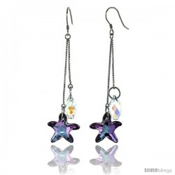 Sterling Silver Dangle Earrings w/ Purple Swarovski Crystal Starfish 2 3/4 in. (70 mm) tall, Rhodium Finish