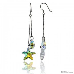 Sterling Silver Dangle Earrings w/ Yellow Swarovski Crystal Starfish 2 3/4 in. (70 mm) tall, Rhodium Finish