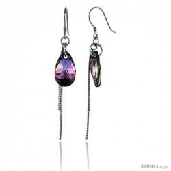 Sterling Silver Dangle Earrings w/ Purple Swarovski Crystal Teardrop 2 5/16 in. (59 mm) tall, Rhodium Finish