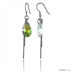 Sterling Silver Dangle Earrings w/ Yellow Swarovski Crystal Teardrop 2 5/16 in. (59 mm) tall, Rhodium Finish