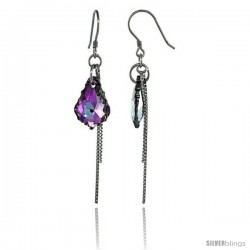 Sterling Silver Dangle Earrings w/ Purple Swarovski Crystal 2 1/4 in. (58 mm) tall, Rhodium Finish