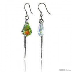 Sterling Silver Dangle Earrings w/ Yellow Swarovski Crystal 2 1/4 in. (58 mm) tall, Rhodium Finish