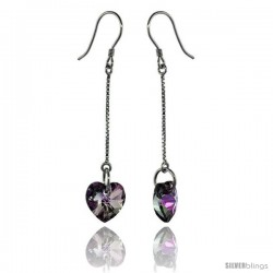 Sterling Silver Dangle Earrings w/ Purple Swarovski Crystal Heart 2 in. (51 mm) tall, Rhodium Finish