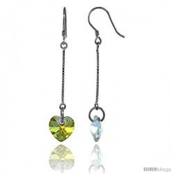 Sterling Silver Dangle Earrings w/ Yellow Swarovski Crystal Heart 2 in. (51 mm) tall, Rhodium Finish